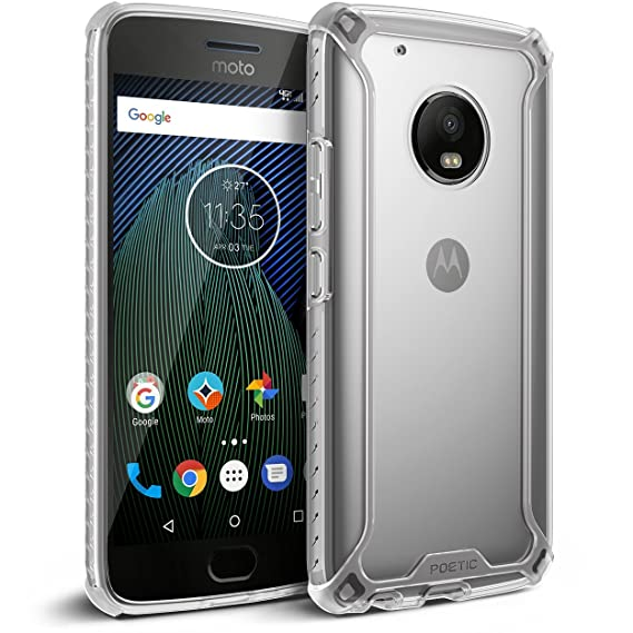 ec824206a77 Poetic Funda Moto G5 Plus [Affinity Series]-[Agarre Parachoques TPU]  [Protección Esquina] Funda Protectora Hibrida para Motorola Moto G5 Plus  Claro/Claro: ...