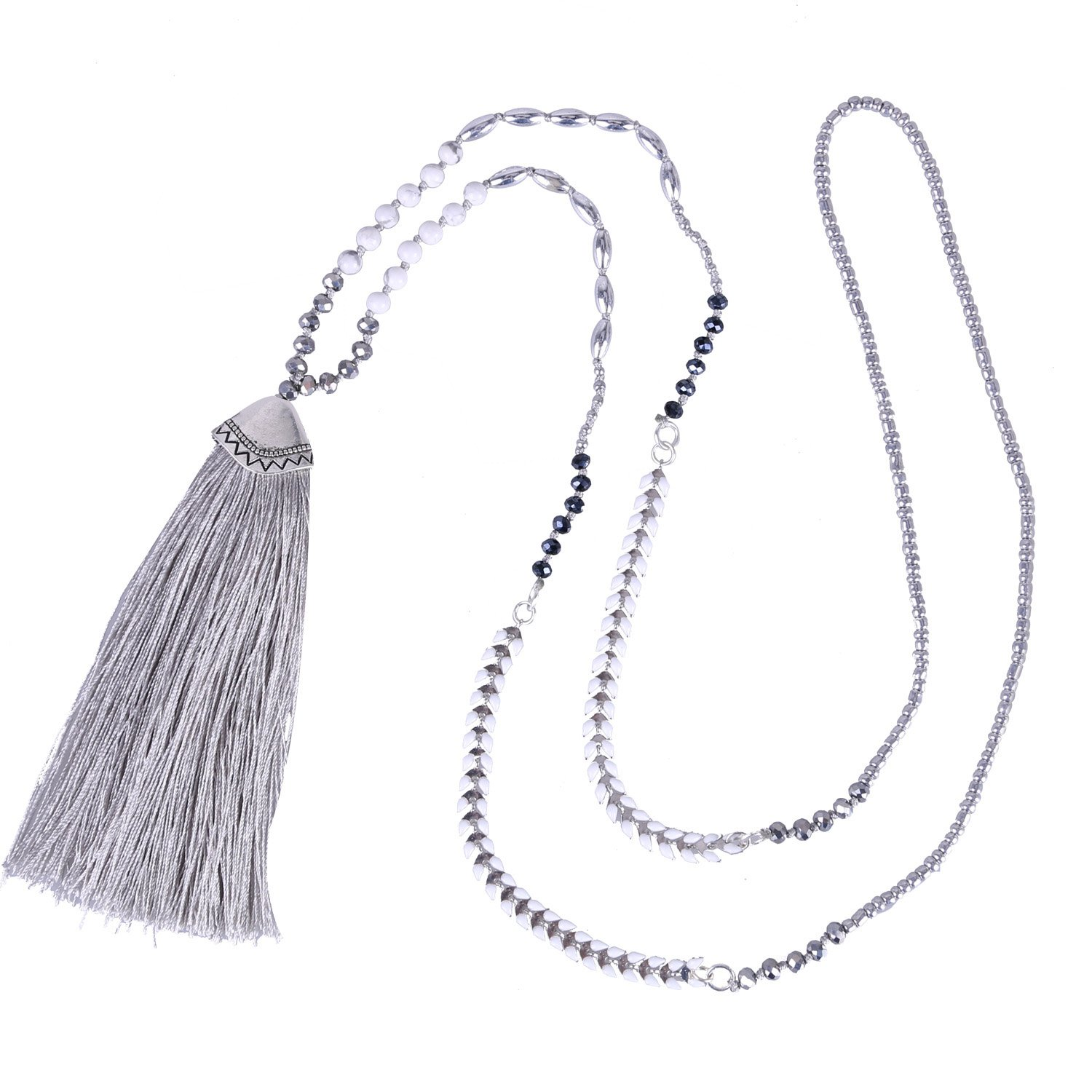 KELITCH Long Necklace for Women Synthetic-Turquoise Crystal Beaded Tassel Statement Necklace, Light Grey