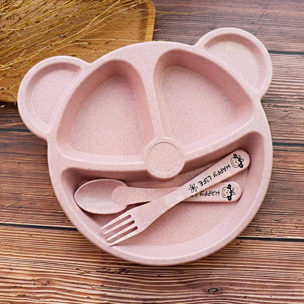 Baby Cartoon Plate Set and Spoon Set Wheat Straw Tableware for Highchair and Travel Ritapreaty Baby Toddler Plate Set