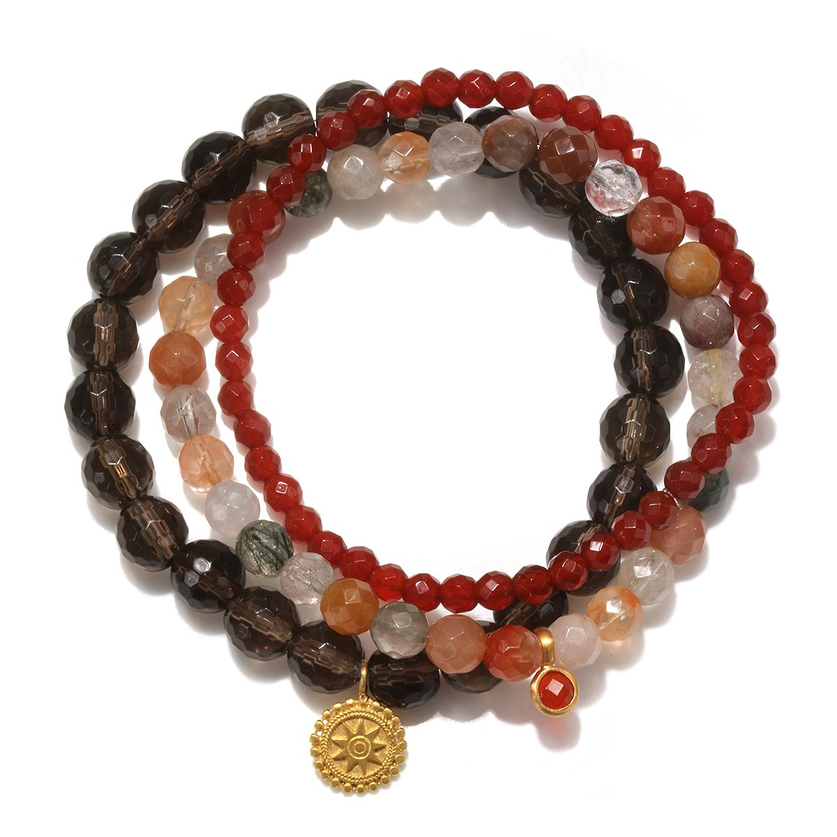 Satya Jewelry Smokey & Rutilated Quartz, Carnelian Gold Plate Mandala Stretch Bracelet by Satya Jewelry