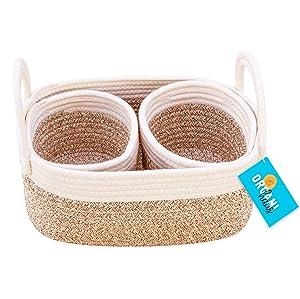OrganiHaus Set of 3 Cotton Rope Nursery Storage Baskets with Handles | Baby Basket for Nursery Organizers and Storage | Decorative Basket for Baby Room Decor, Toy Organizer, Baby Stuff - Brown