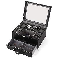 Amzdeal Scatola Porta Orologi 2 Piani,Scatola di immagazzinaggio Jewelry nero