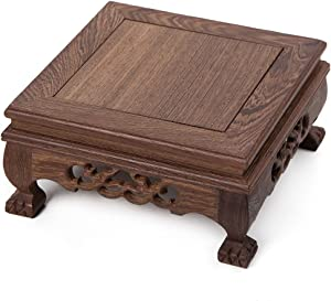 Oriental Furniture Chinese Display Stand Wooden Square Shape Tiger Feet Carved Solid Wooden Base Antique Stone Holder Square-12 (M 18cm18cm9cm)
