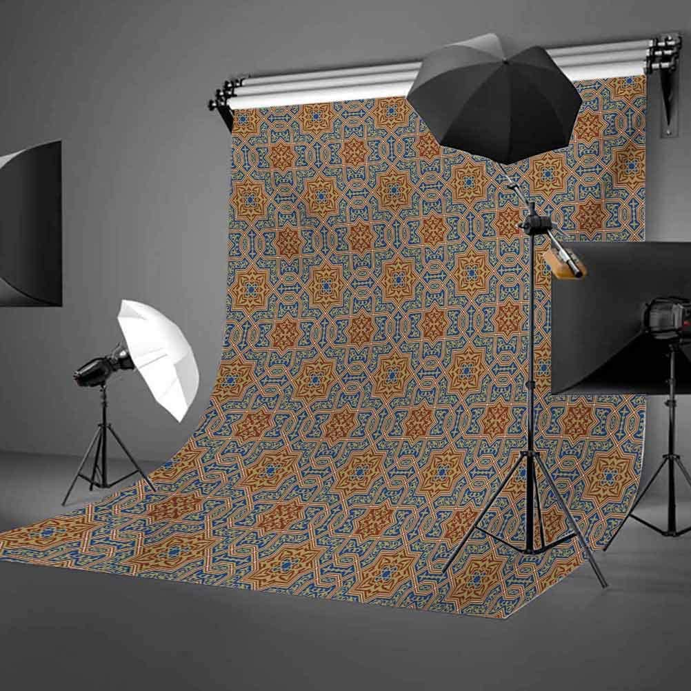 Moroccan 10x12 FT Photography Backdrop Traditional Arabic Design Tile with Geometric Floral Motifs Curly Details Background for Child Baby Shower Photo Vinyl Studio Prop Photobooth Photoshoot