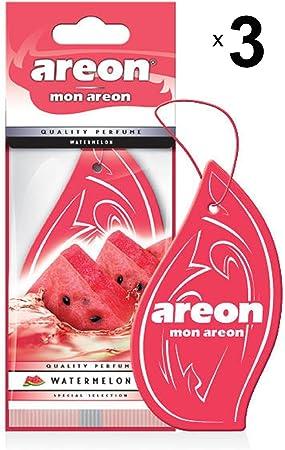 Areon Mon Auto Lufterfrischer Wassermelone Duft Autoduft Rot Anhänger Hängend Aufhängen Spiegel Pappe 2d Wohnung Watermelon Set Pack X 3 Auto