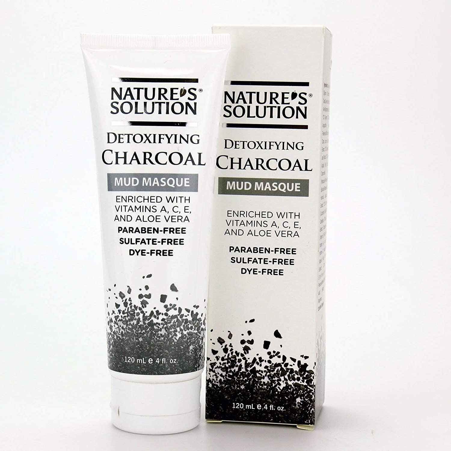 Nature's Solution Detoxifying Charcoal Mud Masque, 4 oz - Paraben-free, Sulfate-free, Cruelty-free