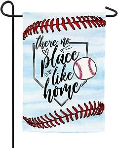 CZQHFLAU No Place Like Home Baseball Farmhouse Yard Outdoor Decoration Burlap Garden Flag 12.5 x 18 Inch Double Sided