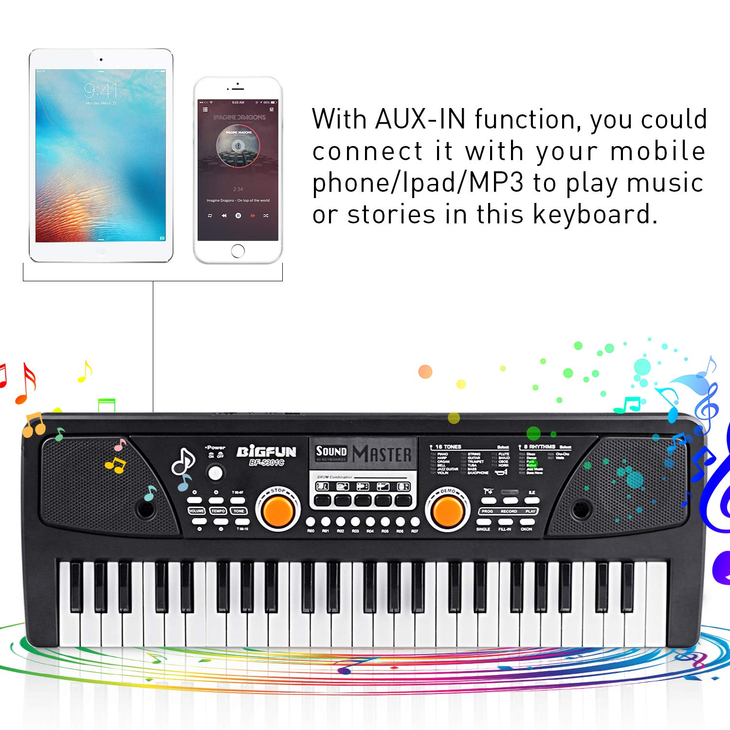 Kids Piano Keyboard 49 Keys- Multi-function Portable Piano Keyboard Electronic Organ with Charging function for Kids and Beginners Chargeable by Tencoz (Image #3)
