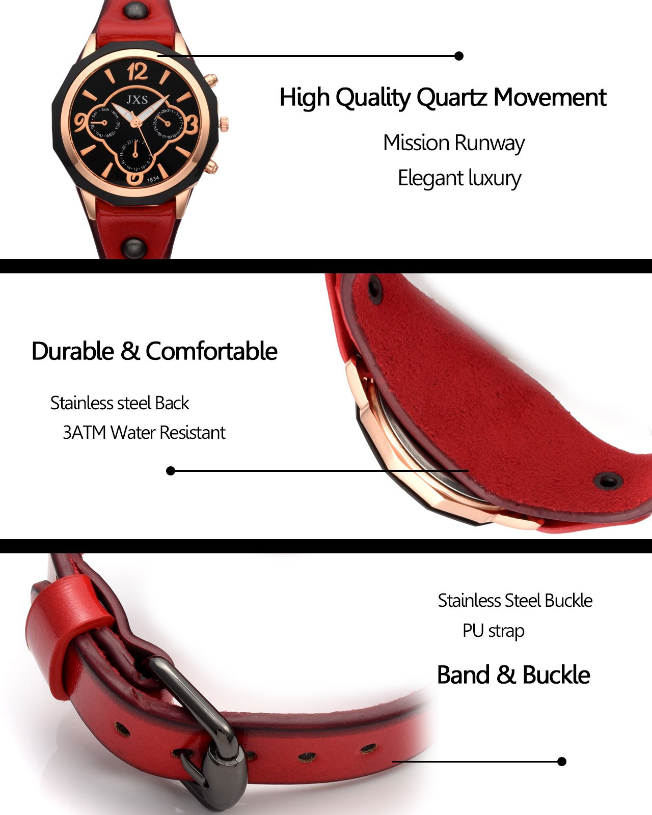 Top Plaza Womens Mens Fashion Rose Gold Tone Leather Analog Quartz Wrist Watch Arabic Numerals Big Face Casual Sport Watch - Black by Top Plaza (Image #4)