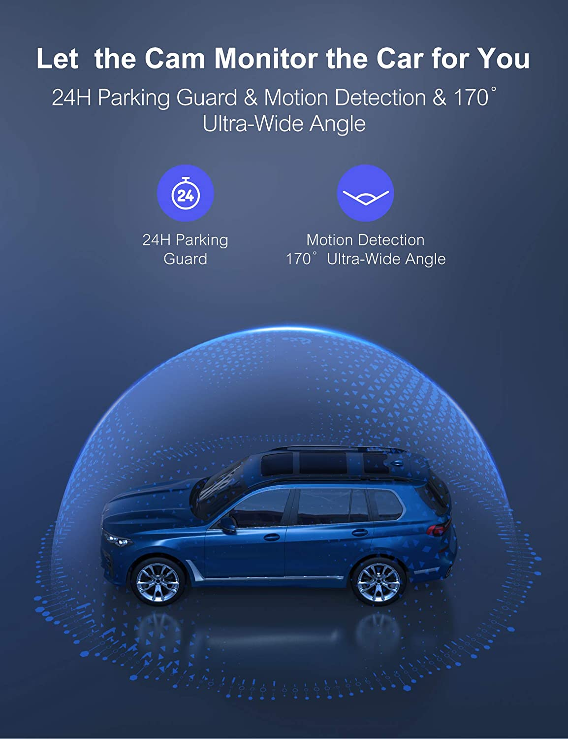G-Sensor Parking Guard WiFi Dash Cam for Cars Front and Rear Dual Lens Crosstour 1080P Car Camera with 3 Inch IPS Screen,170/° Wide Angle Loop Recording