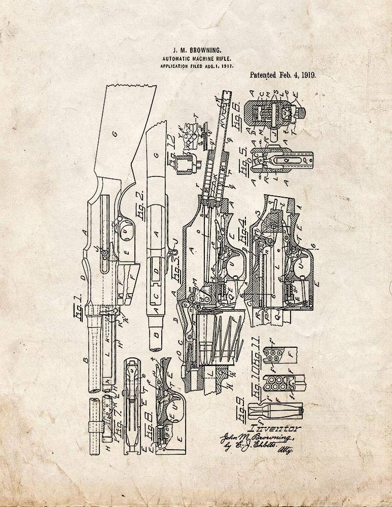 Browning Automatic Rifle Model of 1918 Patent Print Old Look