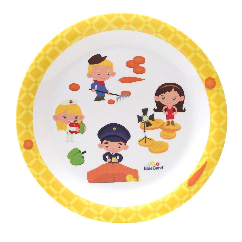 BlueBand Melamin Camping Teller, Kinderteller, flache Teller, Suppenteller, tiefe Teller mit Kinder Berufsmotiven, Farbe:1 flacher Teller gelb