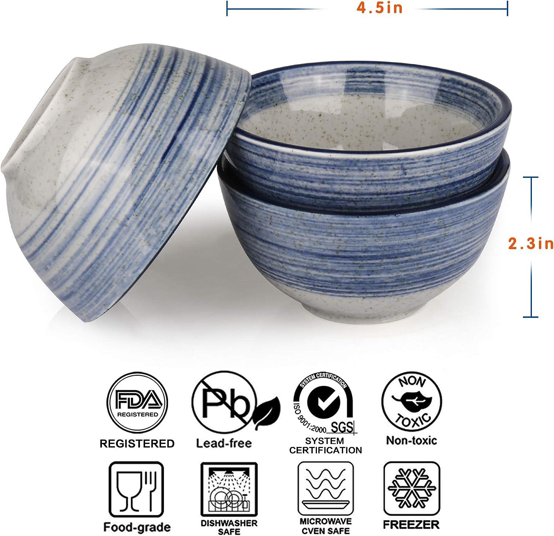 """Small Ceramic Cereal Soup Salad Bowls,Microwave /& Dishwasher Safe,Set of 4 10 Oz MARSTRACE Blue Gray Porcelain Rice Bowls,4.5/"""""""