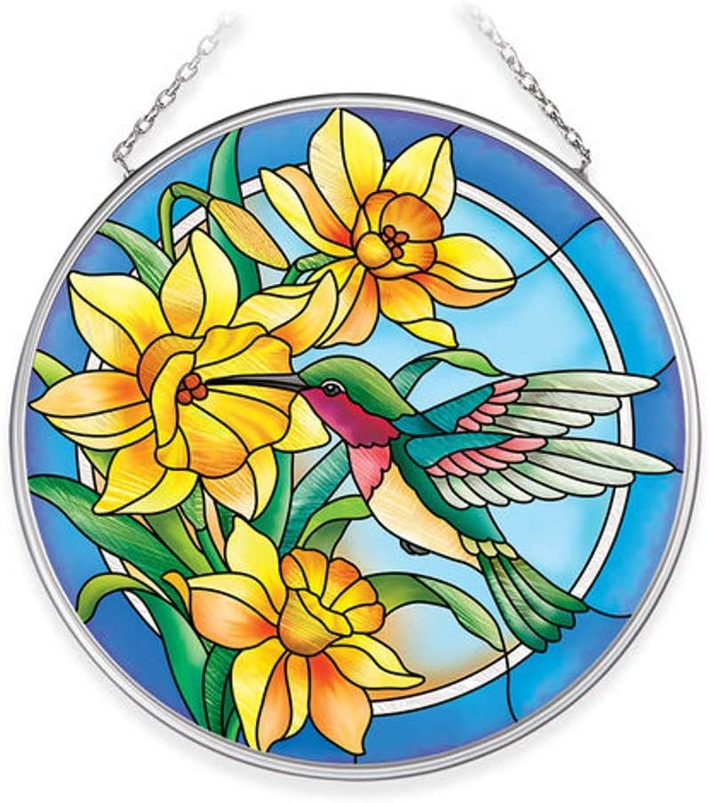 Amia Hummingbird Daffodils Medium Circle Glass Suncatcher, Multicolor