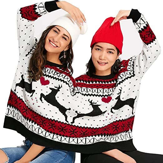 1ee902ab0284 Holiday Time Womens Embellished Double Two Person Not Ugly Holiday  Christmas Sweater Elf and Santa Claus Christmas gift shop