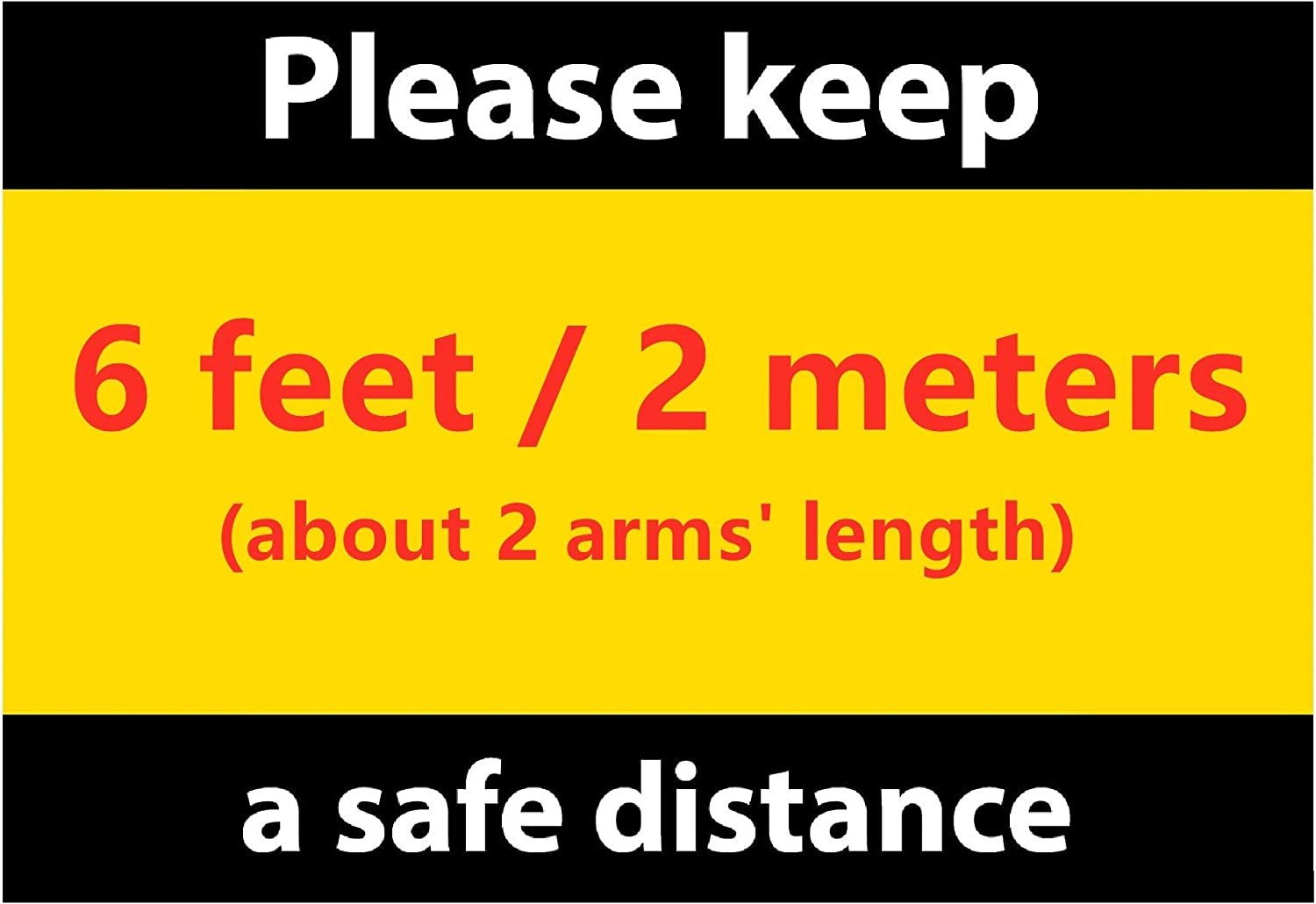1RHC01 Keep Social Distance Sign 177.8/×254mm Minimum Safe Physical Distance Label 7x10/″ Case of 50 Practice Social Distancing Decal Self-Adhesive Vinyl PVC Sticker for Distant Socializing