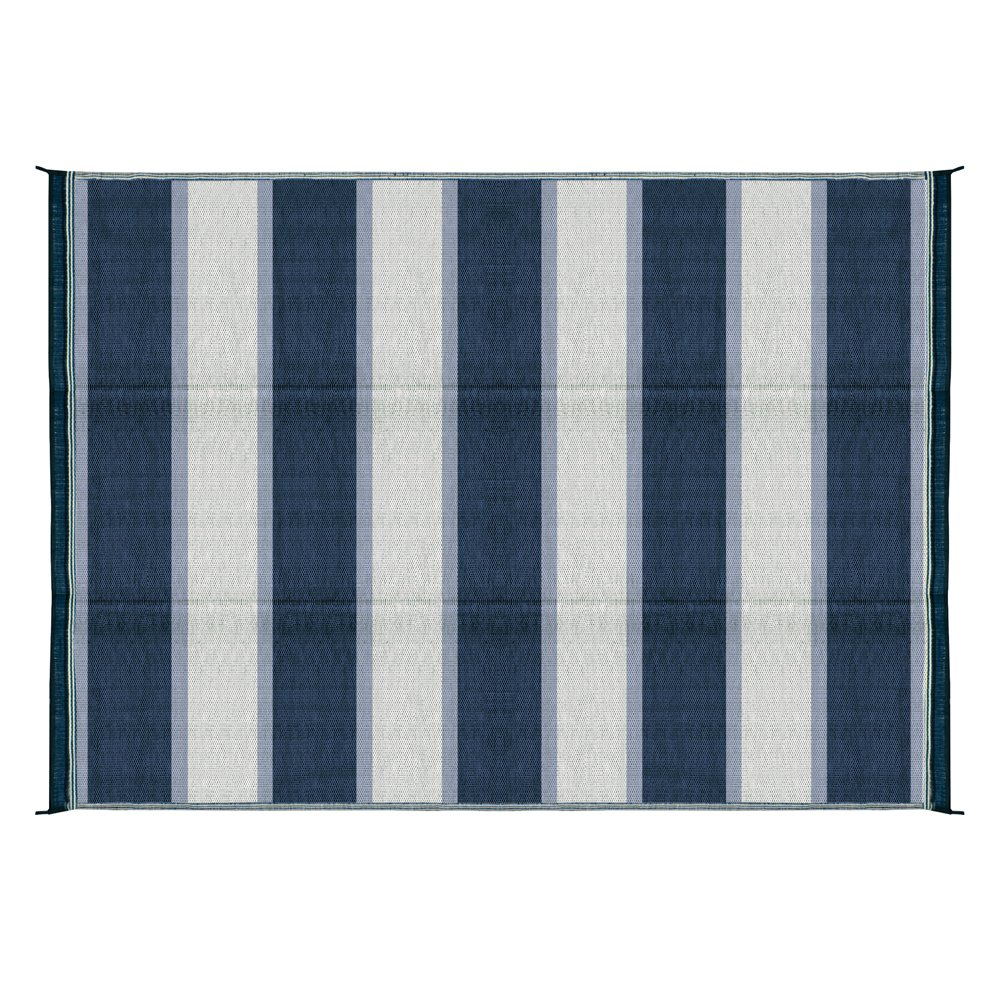 Camco Large Reversible Outdoor Patio Mat - Mold and Mildew Resistant, Easy to Clean, Perfect for Picnics, Cookouts, Camping, and The Beach (6' x 9', Blue Stripe Design) (42871)