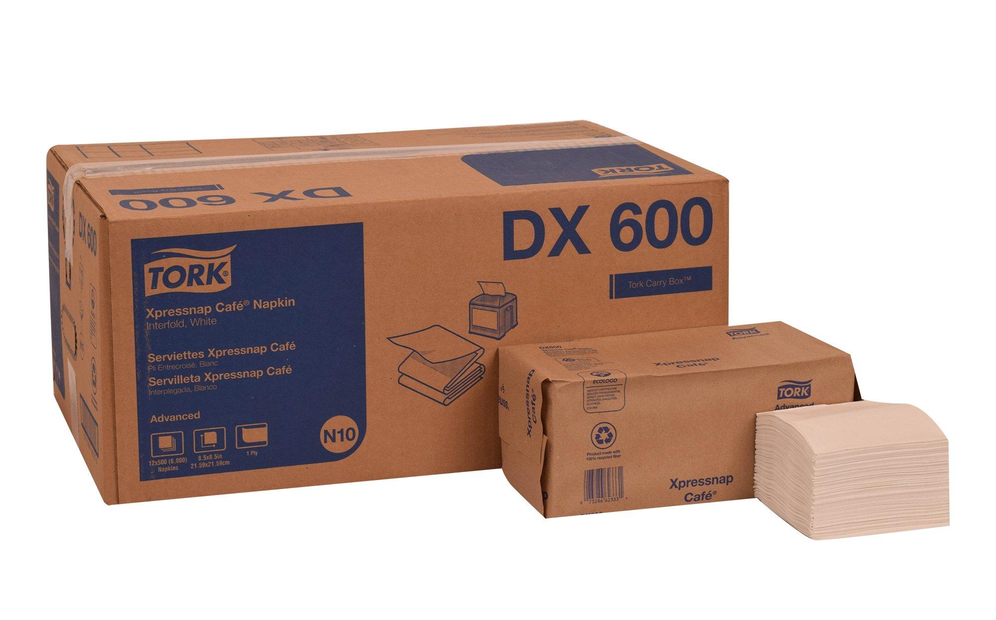 Tork DX600 Advanced Xpressnap Café Dispenser Napkin, Interfold, 1-Ply, 8.5'' Length x 8.5'' Width, White (Case of 12 Packs, 500 per Pack, 6,000 Napkins)