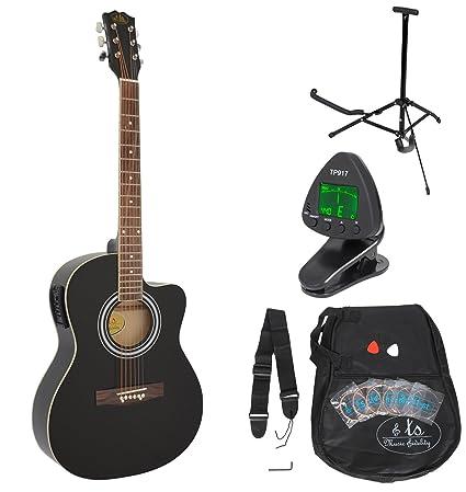 Guitarra acústica WESTERN completa con accesorios y ecualizador activo de 4 bandas Calidad Premium. NEGRA