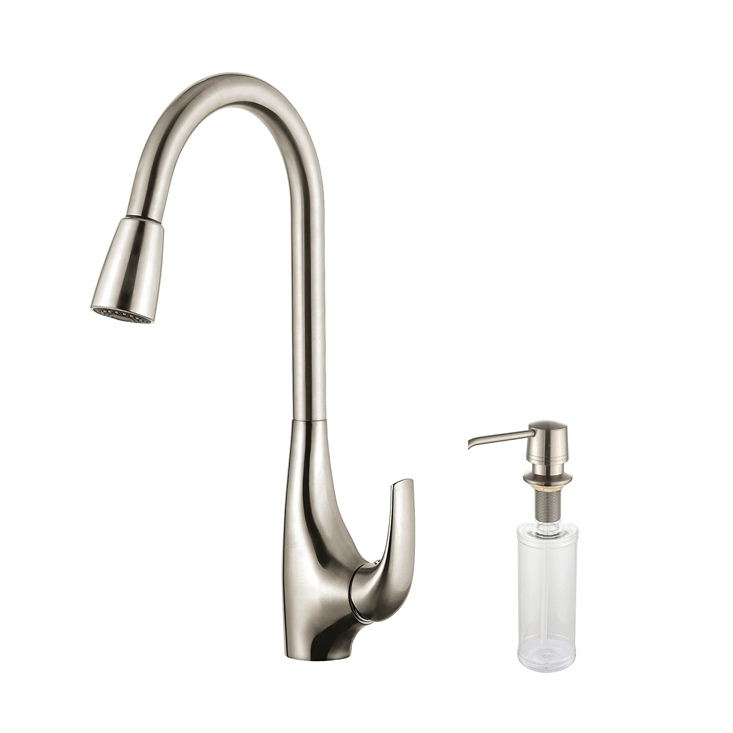 kraus kpf 1621 ksd 30ss single lever pull down kitchen faucet kraus kpf 1621 ksd 30ss single lever pull down kitchen faucet stainless steel finish and soap dispenser amazon com
