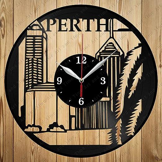 Amazon Com Vinyl Clock Perth Australia Art Decor Home Wall Clock Black Original Gift Unique Design Home Kitchen