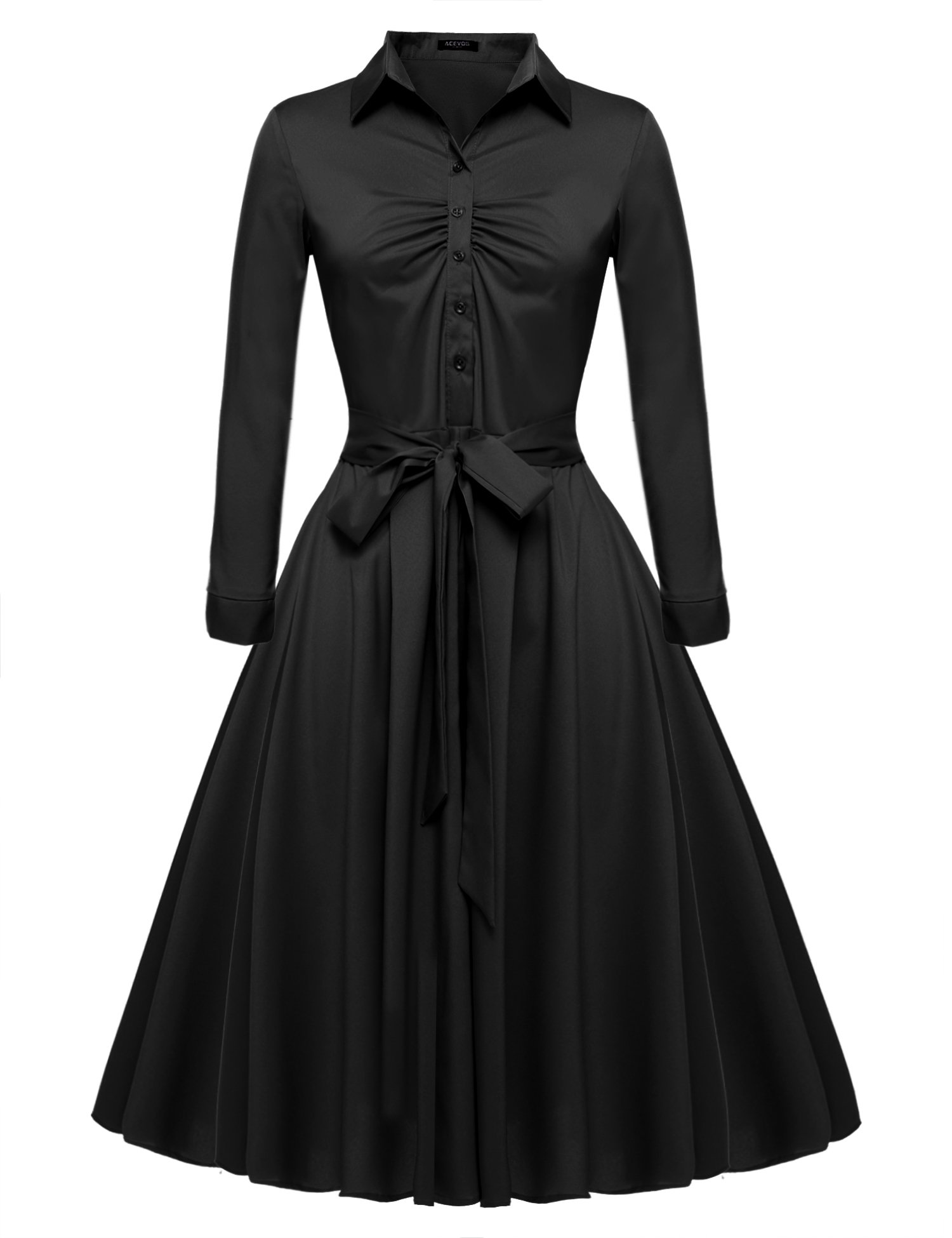 Beyove Women's Vintage Retro Soild A-line Cocktail Party Dress Black XL