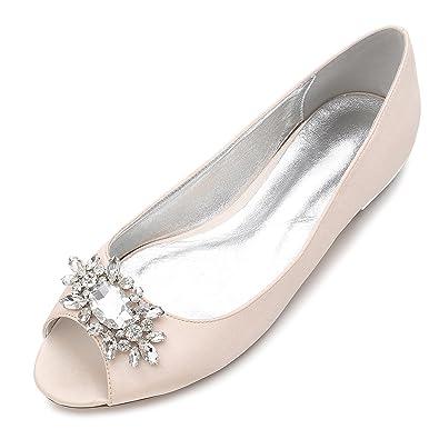 7d73983841af MarHermoso Womens Peep Toe Flats Elegant Champagne Satin Wedding Bridal  Ballet
