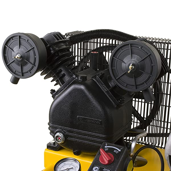 The cast iron V-Twin cylinder pump is another feature of the compressor.