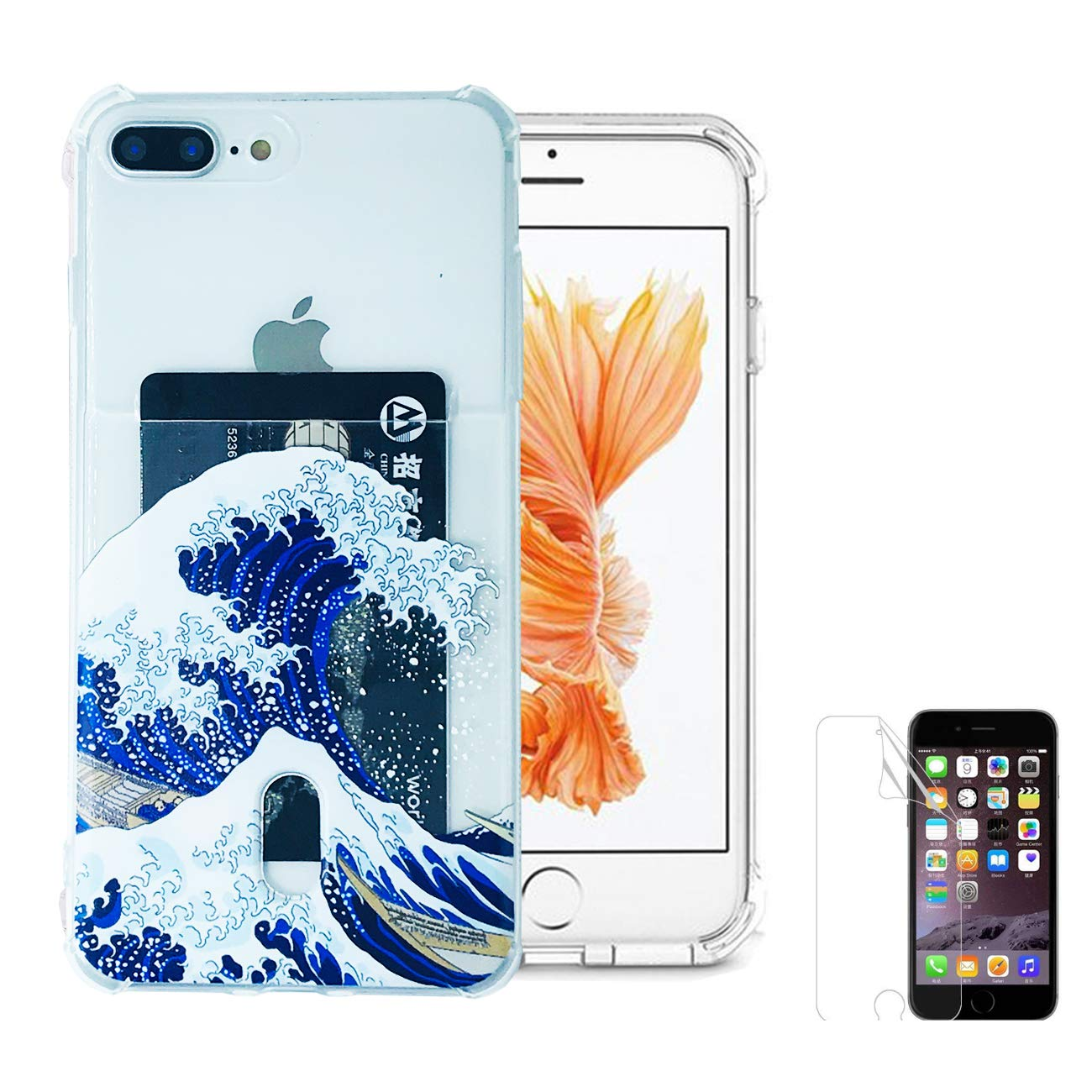 """Oddss Case Compatible for iPhone 8 Plus/7 Plus(5.5"""") with Card Holder Japanese Wave Blue Ultra-Slim Thin Soft TPU Clear Cover Compatible for iPhone 8 Plus/7 Plus with Screen Protector"""