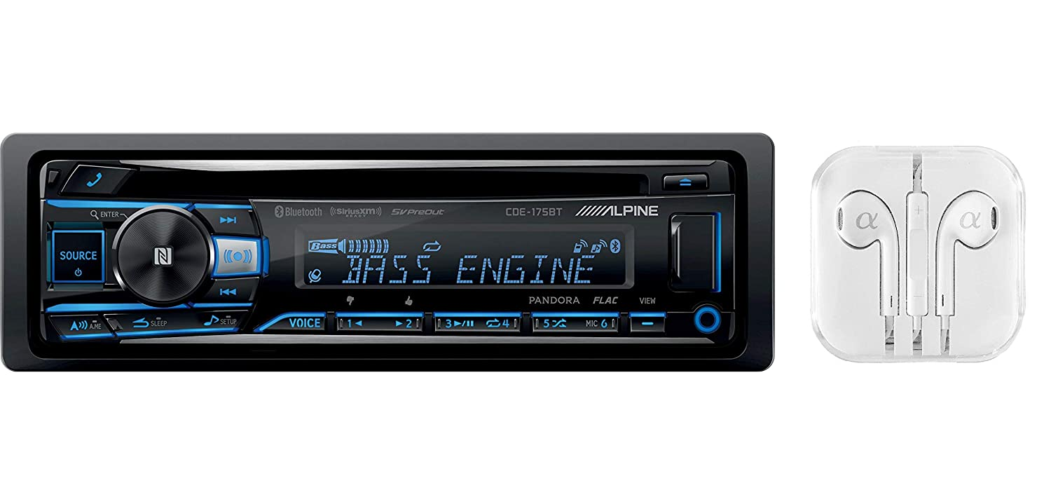 Alpine Cde 175bt Single Din Bluetooth In Dash Cd Front 123 Wiring Harness Usb Auxiliary Mp3 Id3 Tag Am Fm Siriusxm Ready Apple Iphone 6 And Ios 8 Car Stereo