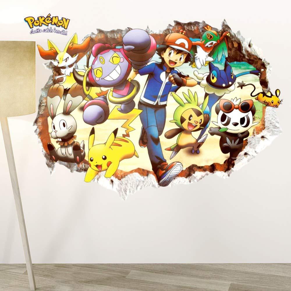 Dibujos animados Pikachu Pokemon Go 3d aplastó pegatinas de pared ...