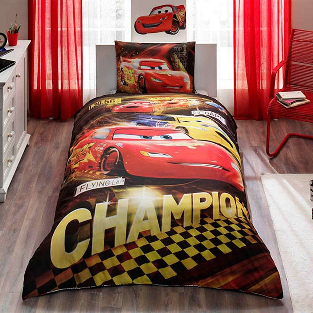 Disney Cars Champions 3 Pcs Twin / Single Size %100 Cotton Duvet Cover Set Bedding Linens