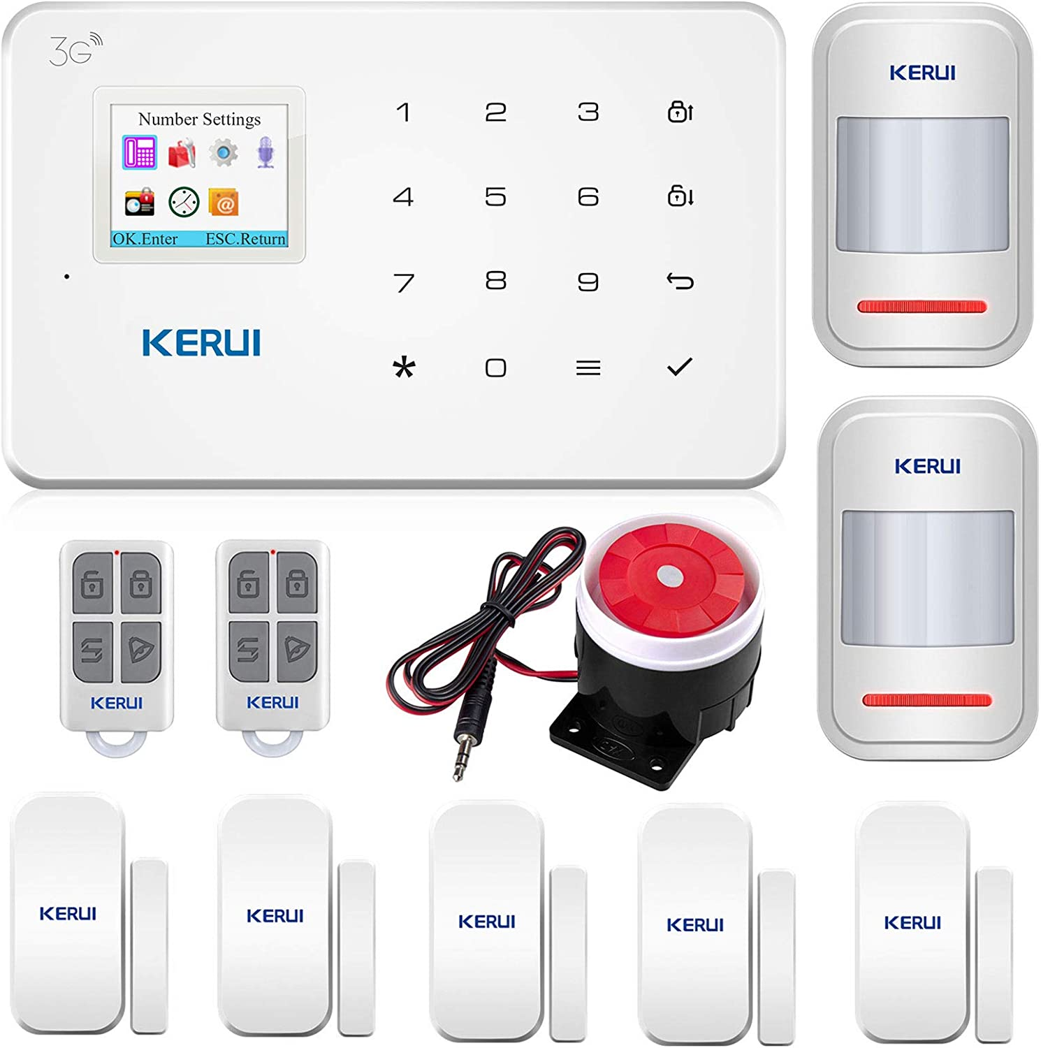 KERUI Wireless GSM 3G Indoor Alarm System House Security Alarm Systems Kit, G183 DIY Smart Home Alarm Auto Dialing Operated by Wireless Remote/APP(iOS/Andriod) Easy Installation,NOT Support WiFi