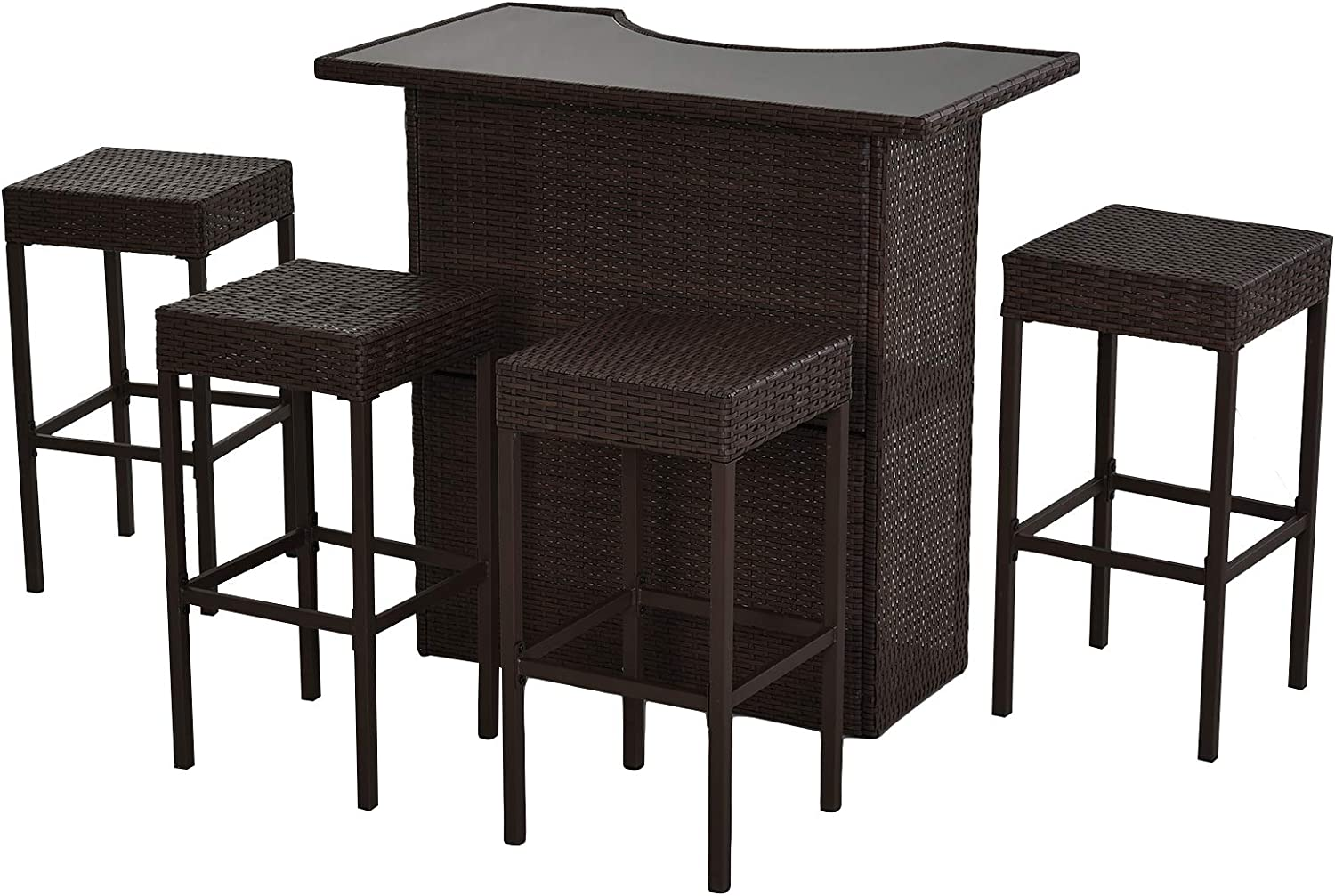 Outsunny 5 Piece Outdoor Patio Wicker Bar Set Outside Rattan Table Chair Stool Set With Glass Top And Shelf Garden Outdoor
