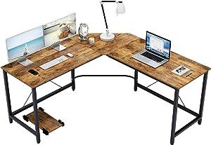 Soges 59 x 59 inches Large L-Shaped Desk Computer Desk L Desk Office Desk Workstation Desk, Rustic Brown CS-ZJ02-FG