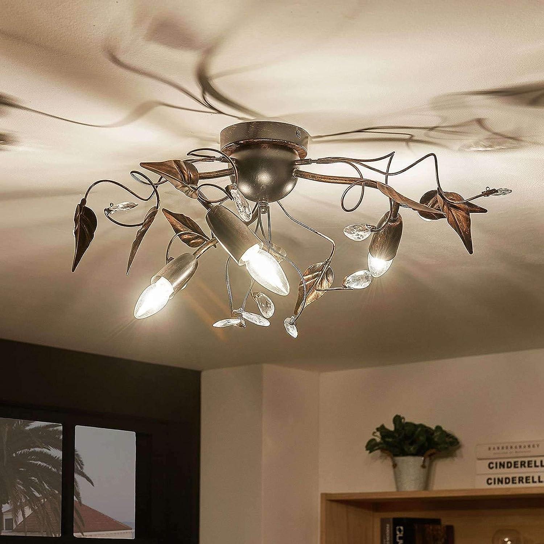 Deckenlampe Marlitt 6-flammig E14 Lampenwelt Rustikal Deckenleuchte Wohnzimmer