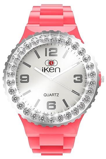 Iken Coral intercambiables reloj con bisel de cristal y Sunray Dial