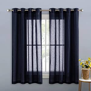 NICETOWN Natural Open Linen Weave Flax Textured Sheer Window Curtains, 63 inches Medium Long Keep Privacy Semi-Transparent Sheer Panels for Farmhouse, 104 inches Wide Total 2 Panels, Navy Blue