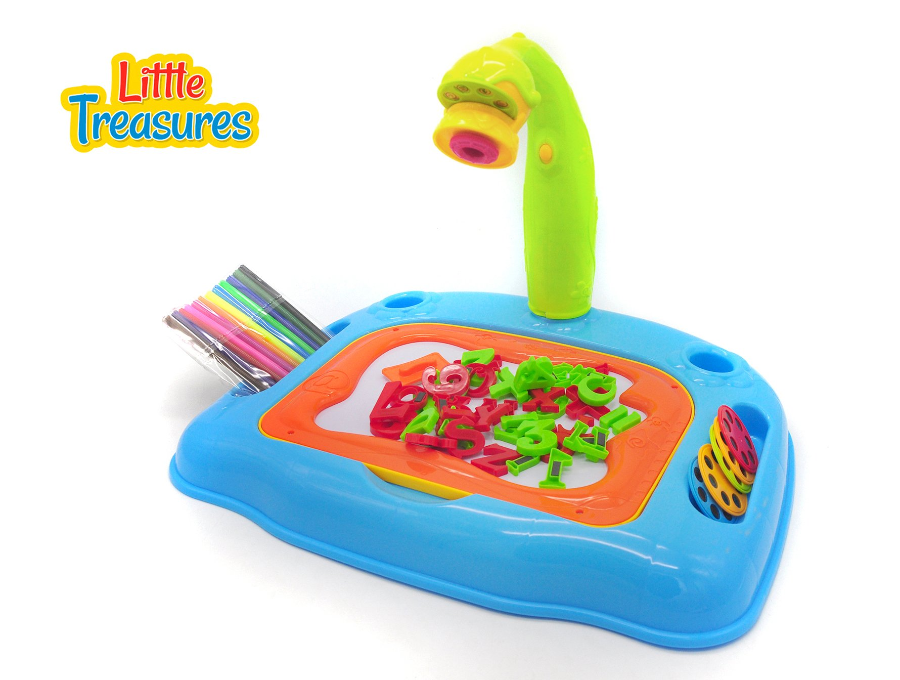 Little Treasures Projector Learning Desk Drawing Board 4-in-1 Educational Table Lamp, Projection Painting and Spelling with Magnetic Letters
