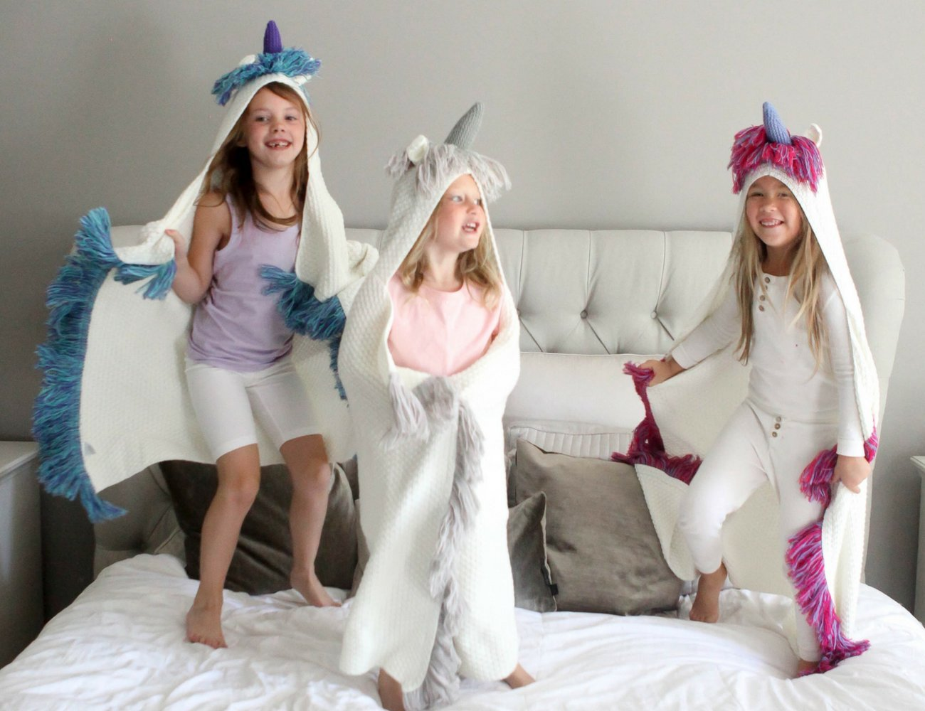 Born To Unicorn Blanket for Girls- Hooded, Kids Pink, Purple Wearable Crochet Knit w/Hood Throw Blankets Wrap, Toddlers Cute Plush Knitted Hoodie, Soft Kids Blanket Gift, Cozy Magic Cloak w/Hood by Born To Unicorn (Image #10)