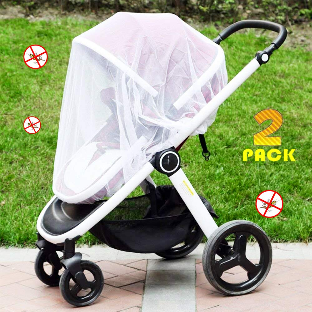 [2 Pack] Baby Mosquito Nets for Strollers, Carriers, Car Seats, Cradles, Fits Most PacknPlays, Cribs, Bassinets & Playpens, Soft Durable Insect Shield Netting, Babies Fly Screen Protection (White) BooTaa