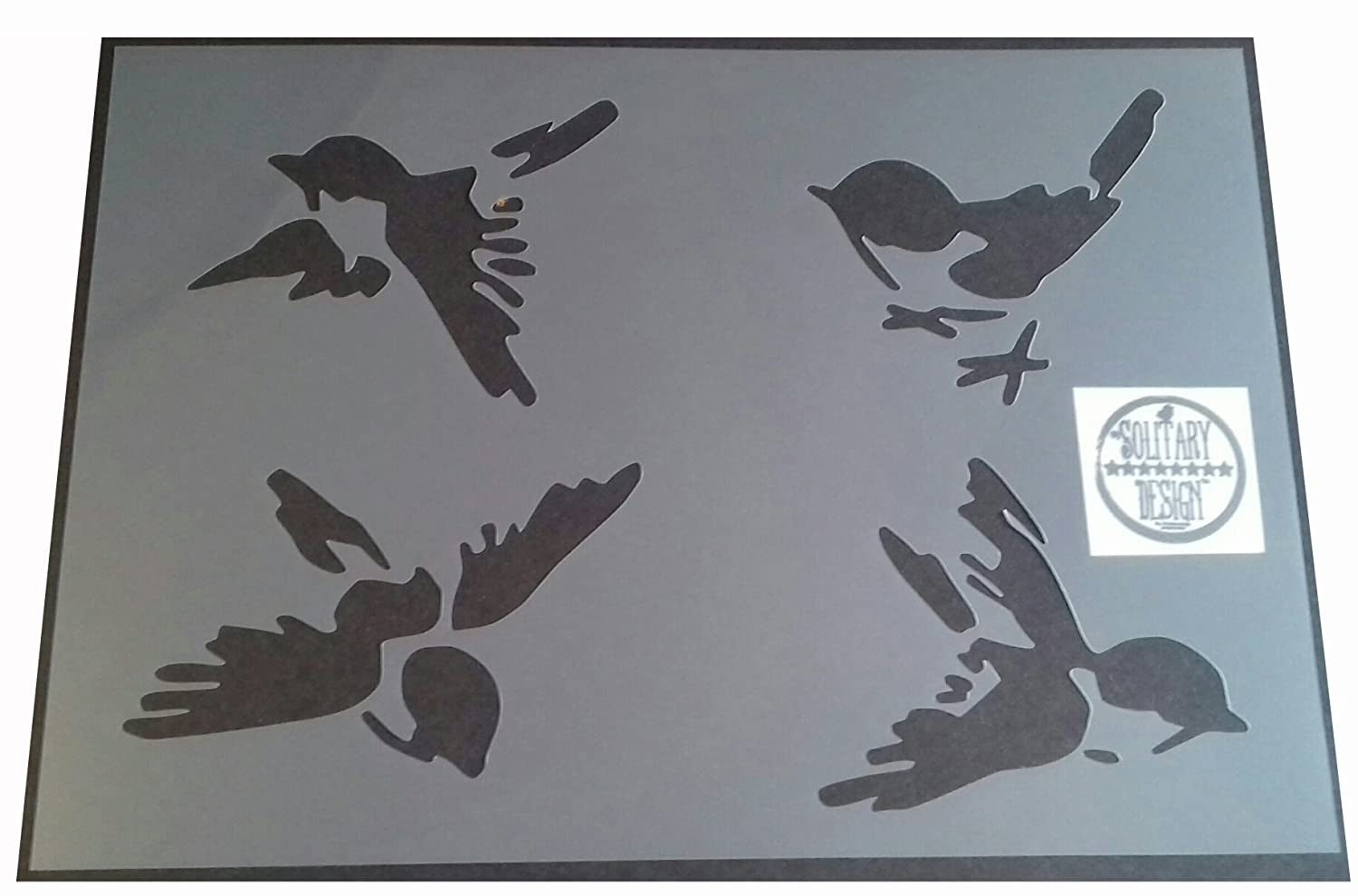 Shabby Chic Stencil Single swallow fly Rustic Mylar Vintage style A4 297x210mm