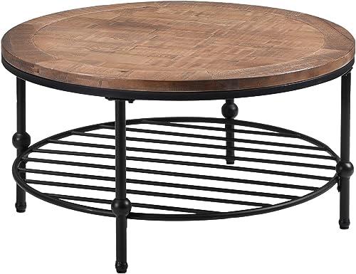 36in Modern Round Shelf Storage Coffee Table