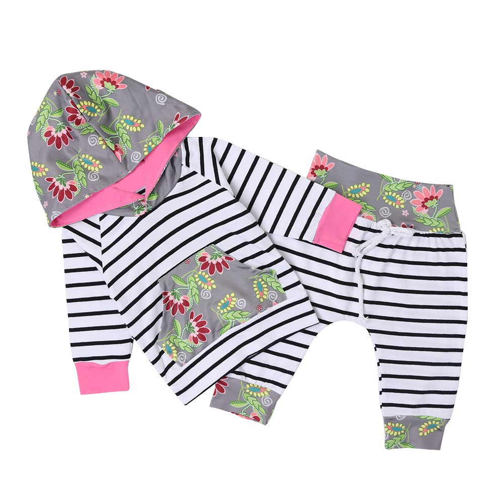Chicolife Baby Girl Sweet Floral Hoodie Trousers Sets 2pcs with Striped Pants Sweatshirt Outfit Clothes ZCL081501