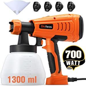 Dicfeos Paint Sprayer, 700W High Power HVLP Home Spray Gun with 1300ml Container, 4 Nozzle Sizes for Fence, Cabinet and Furniture, Easy Spraying and Cleaning