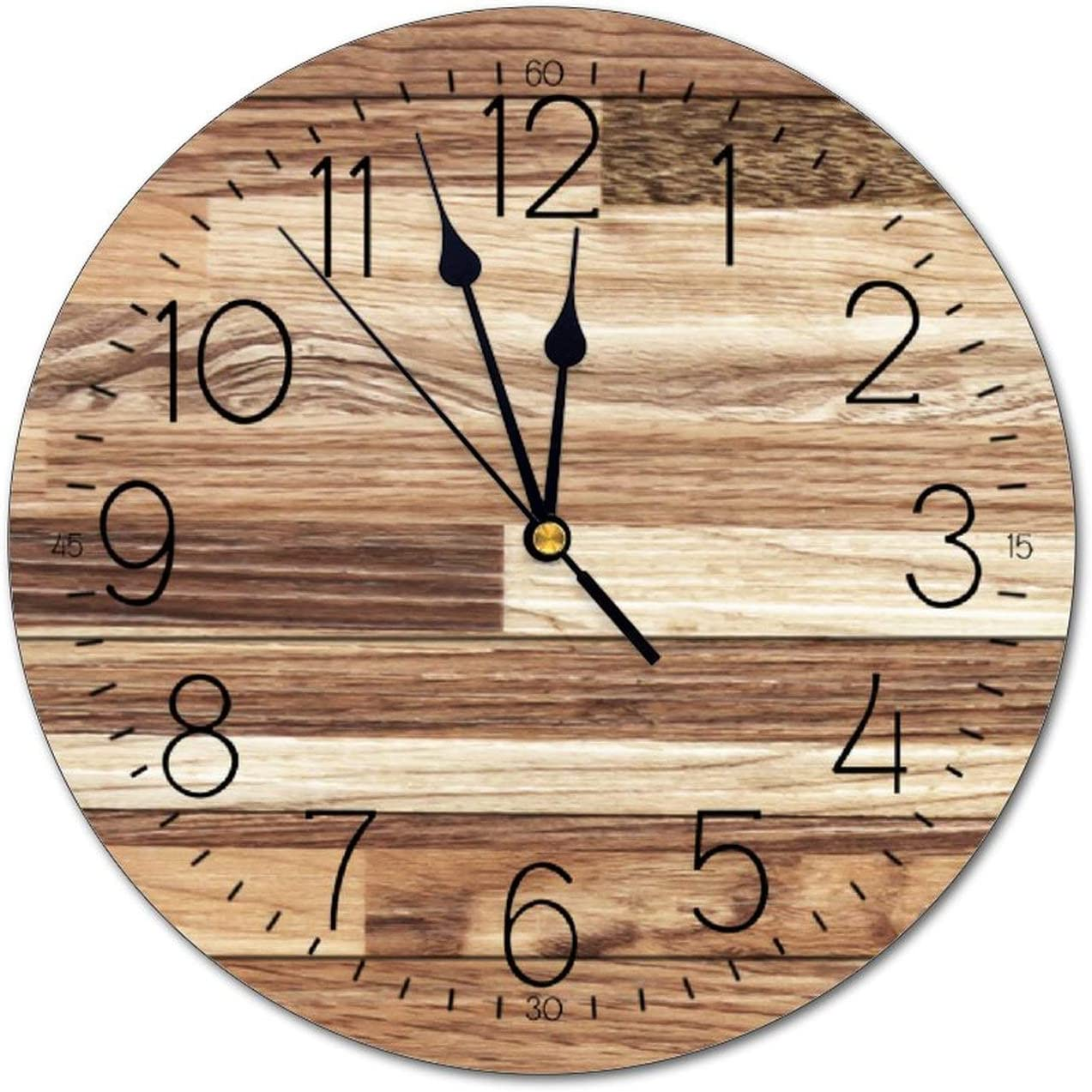 Home Decor Vintage Natural Color Wood Plank big Wall Clock 12 Inch Silent Non Ticking Desk Clocks Modern Art Wall Decorative for Bedroom Living Room Kitchen Home Decor, Quality Quartz Battery Operated
