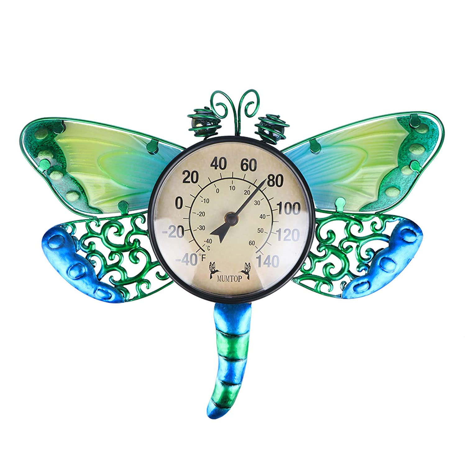 MUMTOP Indoor Outdoor Thermometer Waterproof Wall Thermometer Wireless Hygrometer Dragonfly, No Battery Needed Patio Hanging Decor