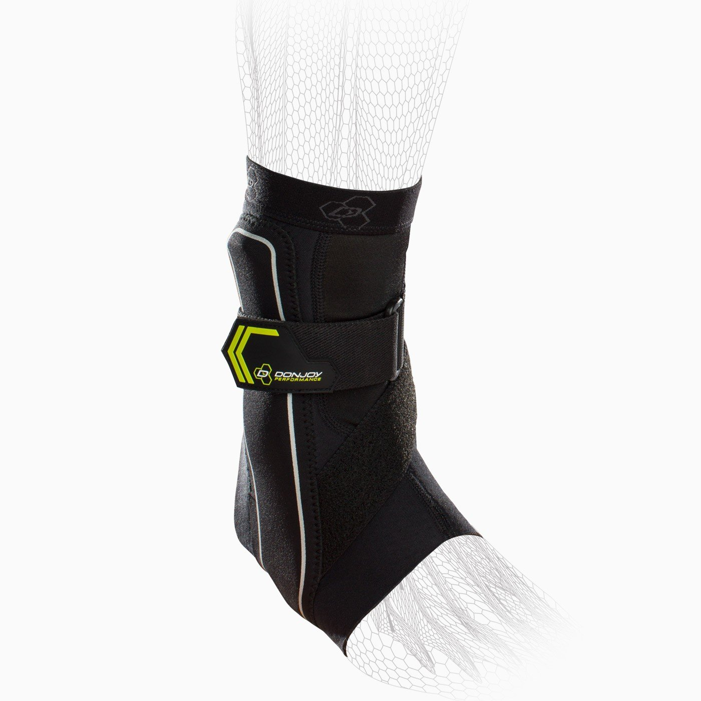 DonJoy Performance Bionic Ankle Support Brace: Right Foot, Slime Green, Medium