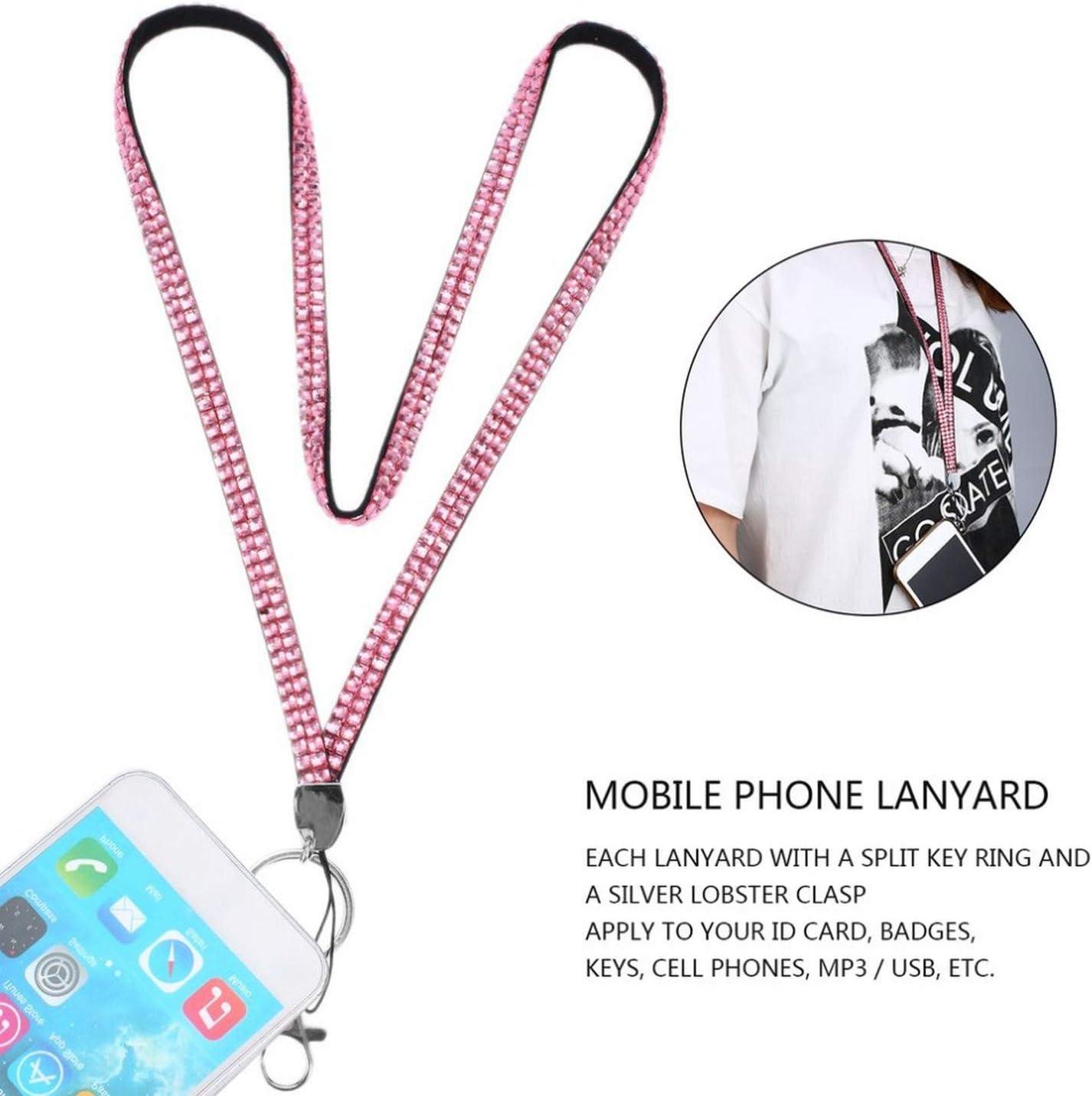 Qkkstore Rhinestonek Strap Lanyards /& Id Badgephone Key Holder Ring Mobile Phone Strap Crystal Bling,Pink