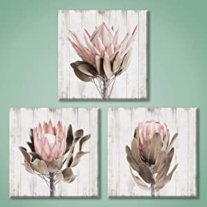 Pink Floral Picture Wall Art: Protea Flowers Artwork Print on Wooden Textured Canvas Art for Bathroom (12'' x 12'' x 3 Panels)